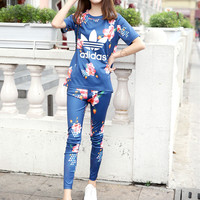 """Adidas"" Fashion Casual Multicolor Clover Letter Flower Print Short Sleeve Set Two-Piece Sportswear"