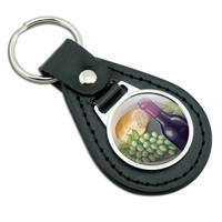 Wine Bottle with Bread and Grapes Black Leather Keychain