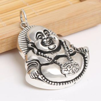 Handcrafted 925 Silver Tibetan Laughing Buddha Pendant vintage sterling silver Happy Buddha Pendant