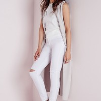 Missguided - High Waist Ripped Knee Skinny Jeans White