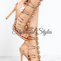Sasha Rose Gold Strappy Heel