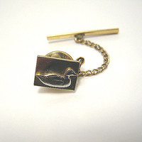 Vintage Tie Tack Two Tone Duck Silver and Gold Color Mens Formal Jewelry Gift