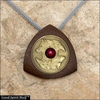 Wolf and Raven Antique Gold Finish Coin In Walnut Wood Setting on Luxurious Chain Mesh Necklace