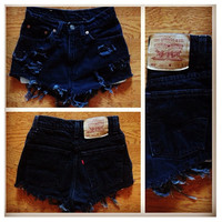 Black Distressed Shorts by DistressedWithLove on Etsy