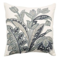 PASCAL FLORAL EMBROIDERED PILLOW COVER