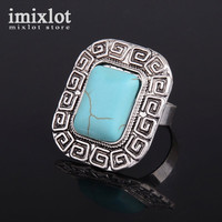 Vintage Bohemian Square Turquoise Ring For Women Antique Silver Alloy Carving Ring Fashion Jewelry