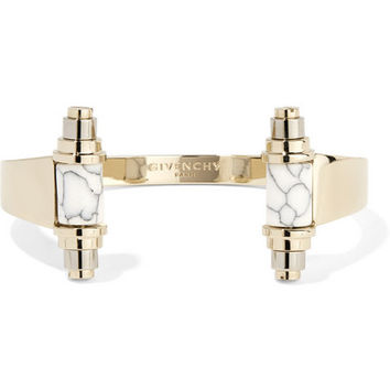 Givenchy - Gold and palladium-plated obsidian cuff