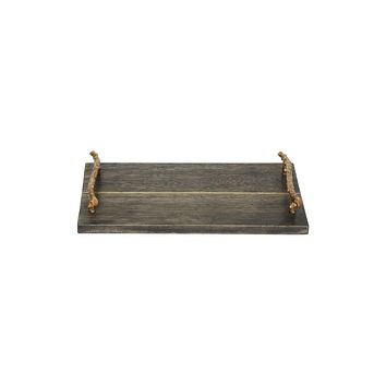 Solid Wood Serving Tray with Brass Handles