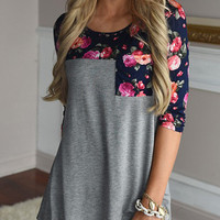 Streetstyle  Casual Fashion Round Neckline Over Size Floral Print Top