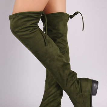 Suede Drawstring-Tie Riding Over-The-Knee Boots