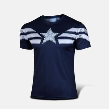 NEW Marvel Captain America 2 Super Hero compression tights T shirt Men fitness clothing short sleeves XS-XXXXL