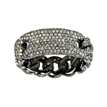 1.24ct Pavé Diamonds in 925 Sterling Silver Curb Link ID Band Ring
