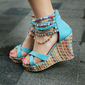 Bohemian Cross Strap Beaded Platform Wedge Sandals