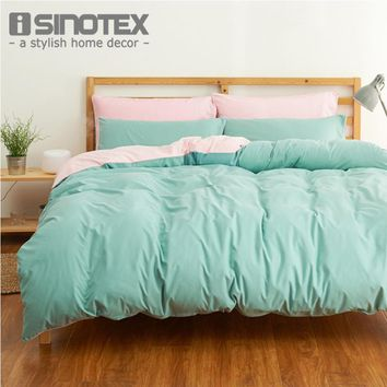 4PCS Brand Bedding Set Duvet Cover Set Plain Bed Linen Sheet Pillow Cover Pillowcase Single Full Queen Size Woven Solid