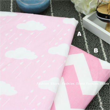 40*50cm Pink Clouds raindrops Cotton Fabric for Home Textile Baby wave quilts Cushions Sewing Fabric Material Telas to Patchwork