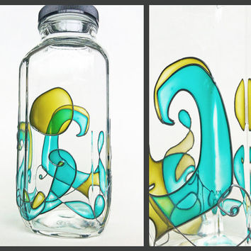 Eco Friendly Water Bottle or Stash Jar, stained glass surfer waves psychedelic pot weed pipe bong herb smoke container apothecary