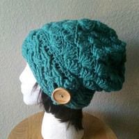Crochet Slouchy Teal Beanie - Cabled Button Beanie - Womens Slouchy Hat - Hipster Hat - Winter Beanie
