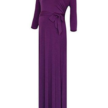BlackCherry Womens Three Quarter Sleeve Maternity Nursing Front Tie Wrap Maxi Dress