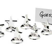 Silver-Plated Star Place Cards, Set of 6, Napkin Rings & Holders
