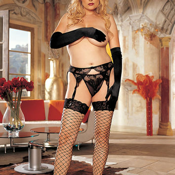 X90062 Plus Size Stockings in Black by Shirley of Hollywood