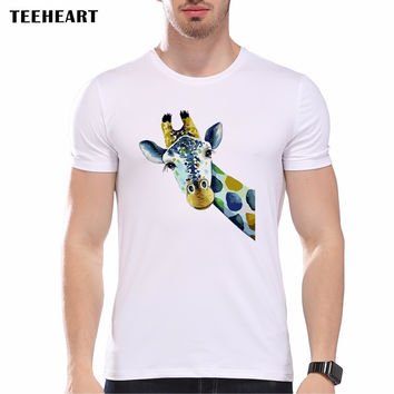 New Funny Frog Giraffe Printed Men's Casual T-shirt Male Summer Hipster Animal White Color Tops Tee
