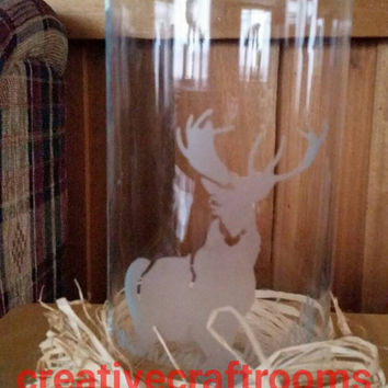 Deer etched vase, tea light vase, flower vase, glass, personalized