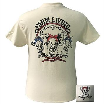 Bjaxx Lilly Paige Farm Living Life for Me Pig Cow Goat T-Shirt