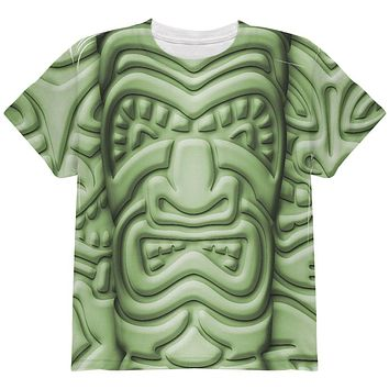 Tiki God Green Face Luau All Over Youth T Shirt