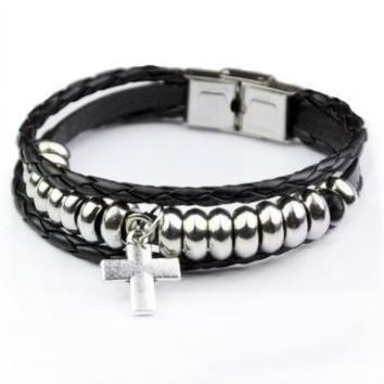 Gift Awesome Stylish New Arrival Shiny Hot Sale Great Deal Cross Rack Men Accessory Leather Bracelet [6526724931]
