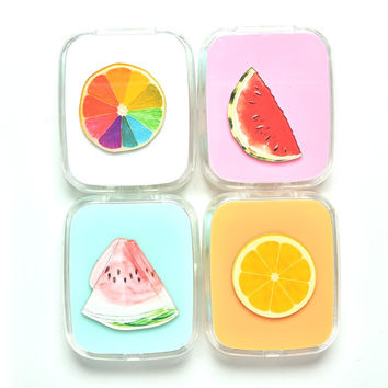 LIUSVENTINA DIY acrylic  cute color Fruit watermelon orange contact lens case for eyes contact lenses box for glasses