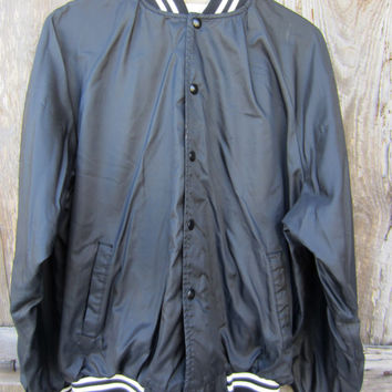 70s Black Baseball Jacket by Auburn Sportswear, Men's L, Women's XL // Vintage Black Varsity Jacket