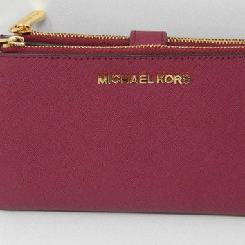 New Michael Kors Jet Set Mulberry Saffiano Leather Double Zip Wristlet Wallet