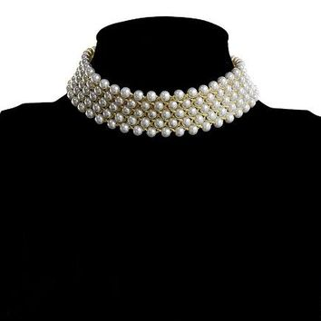 """11"""" cream faux pearl gold laces choker necklace 90"""" wide 2.15"""" ext 90"""" wide"""