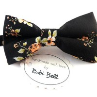 Bow Tie - floral bow tie - wedding bow tie - black bow tie with pink and green flower pattern - man bow tie - men bow tie - grooms bow tie