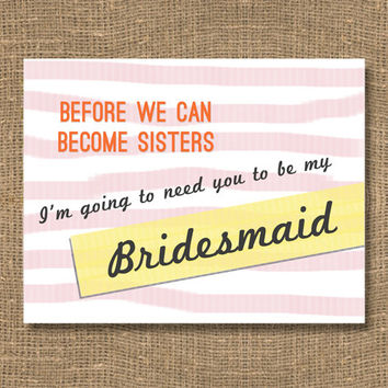 Bridesmaid Invitation / Bridal Party Card for Bridesmaid / How to Ask a Bridesmaid / Maid Invitation / Will You Be My Bridesmaid