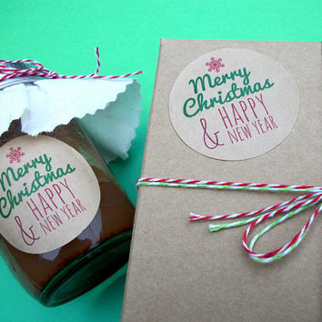 kraft merry christmas happy new year canning jar labels 2 inch round stickers for holiday
