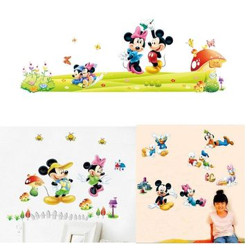 New Mickey Mouse Minnie Mouse wall sticker for children room nursery decoration diy removable vinyl wallpaper decorations