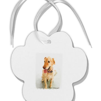 Golden Retriever Watercolor Paw Print Shaped Ornament