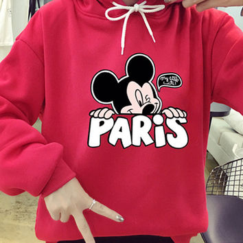 Mouse Cartoon Cute Print 2016 Sweatshirt Mickey Mouse Women Hoodies Thicken Kawaii Clothes Plus Size Moletom Sudaderas Muje Z05