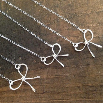 Dainty Sterling Silver Bow Necklace