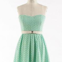 Simply Sweet Chevron Lace Sweetheart Skater Dress in Mint  | Sincerely Sweet Boutique
