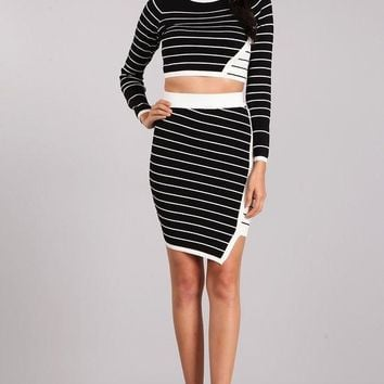 Jail Bird Skirt Set in Black/White