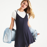 AEO Button-Front Slip Dress, Washed Black