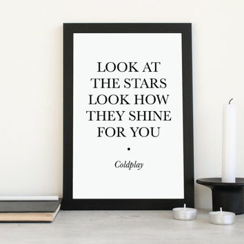 Printable Lyrics Coldplay Look at the Stars - Instant Download