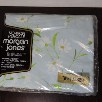 Vintage Morgan Jones No Iron Percale Floral Daisy Twin Flat Sheet - New Old Stock - Fits 39 x 76in Mattress