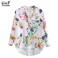 Dotfashion Multicolor V Neck Floral Print Tops Blouses Casual New Shirts For Women Vogue Long Sleeve Buttons Dip Hem Blouse