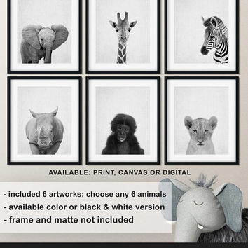 Black and white animal prints safari, Jungle animals nursery, Safari Nursery animal decor, Safari Baby animals, Animal kid print Print/Canva