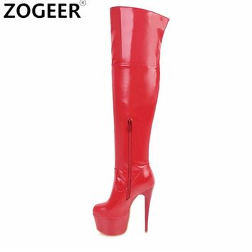 Plus size 48 Women Sexy Fetish Dance Nightclub Party Shoes Extreme High Heel Platform Women Over Knee Boots Thigh High Boots