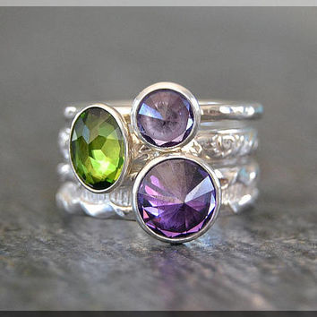 Set of 3 Sterling Silver Birthstone Rings, Birthstone Ring, Inverted Gemstone Ring, Choose Your Birthstone, Family Ring Stack, Moms Ring Set