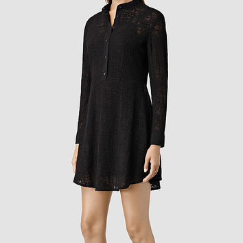 Womens Lilt Embroidered Dress (Jet Black) | ALLSAINTS.com
